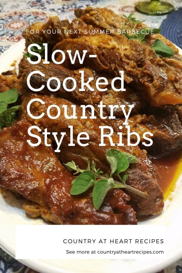Pinterest Pin Slow-Cooked Country Style Ribs