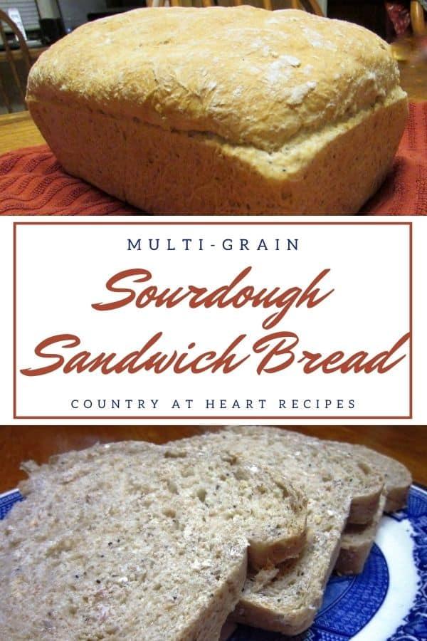 Pinterest Pin - Multi-Grain Sourdough Sandwich Bread