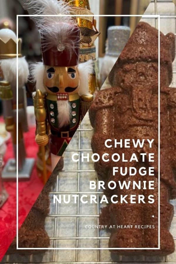 Pinterest Pin - Chewy Chocolate Fudge Brownie Nutcrackers - Nordic Ware Pan