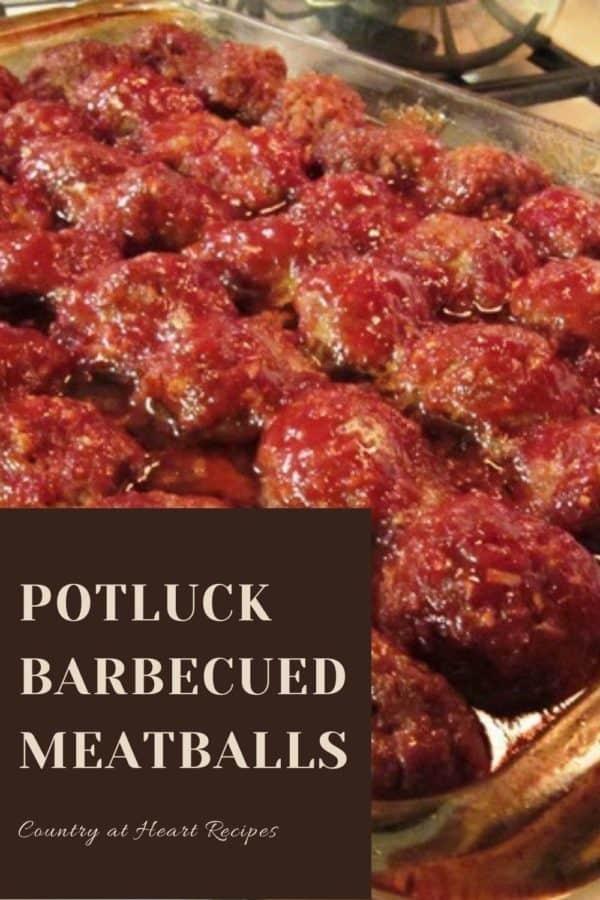 Pinterest Pin - Potluck Barbecued Meatballs
