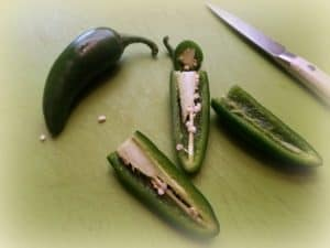 Slicing the Jalapeno Peppers