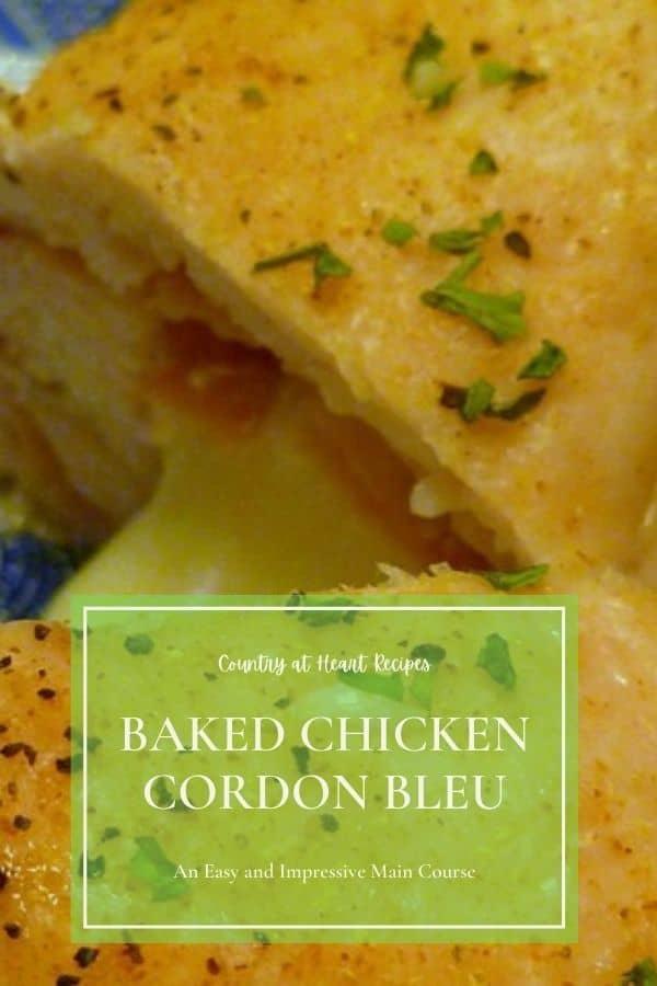Pinterest Pin - Baked Chicken Cordon Bleu