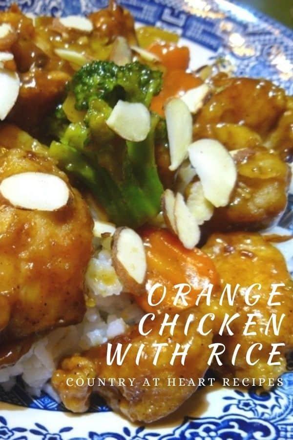 Pinterest Pin - Orange Chicken with Rice