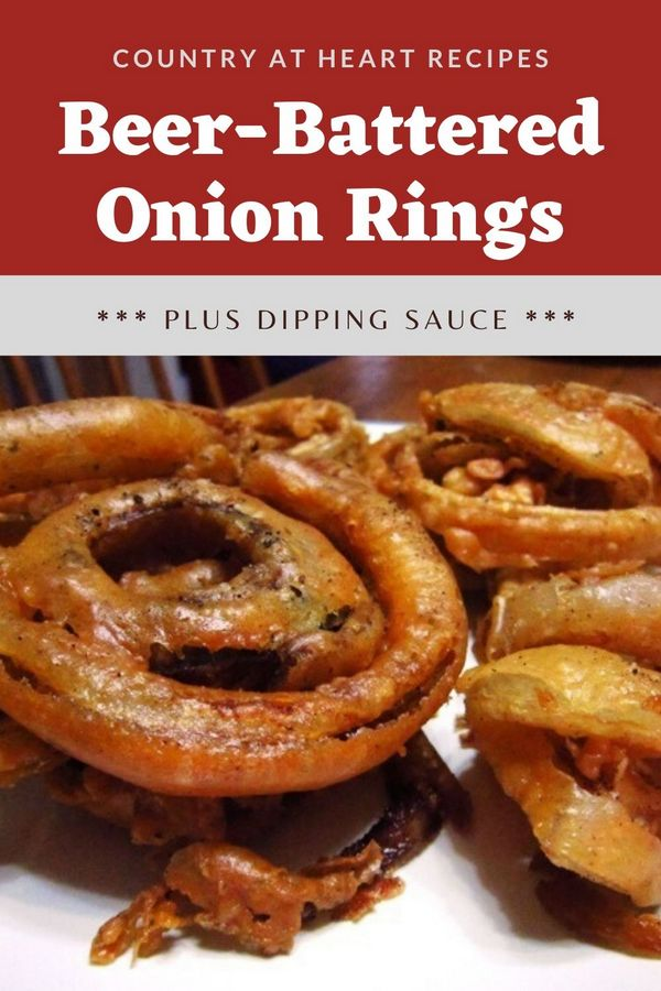 Pinterest Pin - Beer Battered Onion Rings