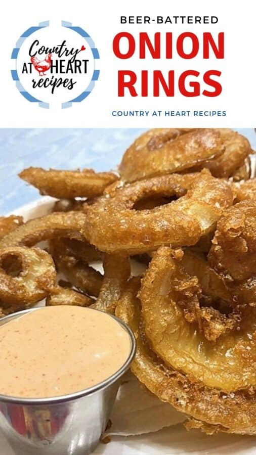 Pinterest Pin - Beer-Battered Onion Rings
