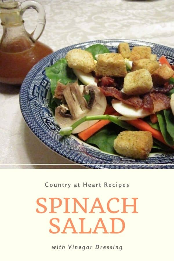 Pinterest Pin - Spinach Salad with Vinegar Dressing
