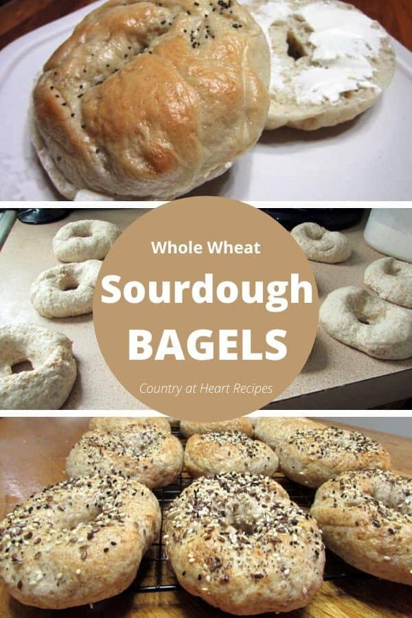 Pinterest Pin - Sourdough Whole Wheat Bagels