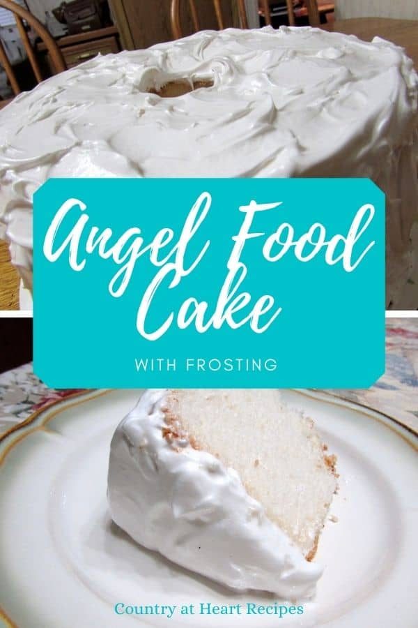 Pinterest Pin - Angel Food Cake with Frosting