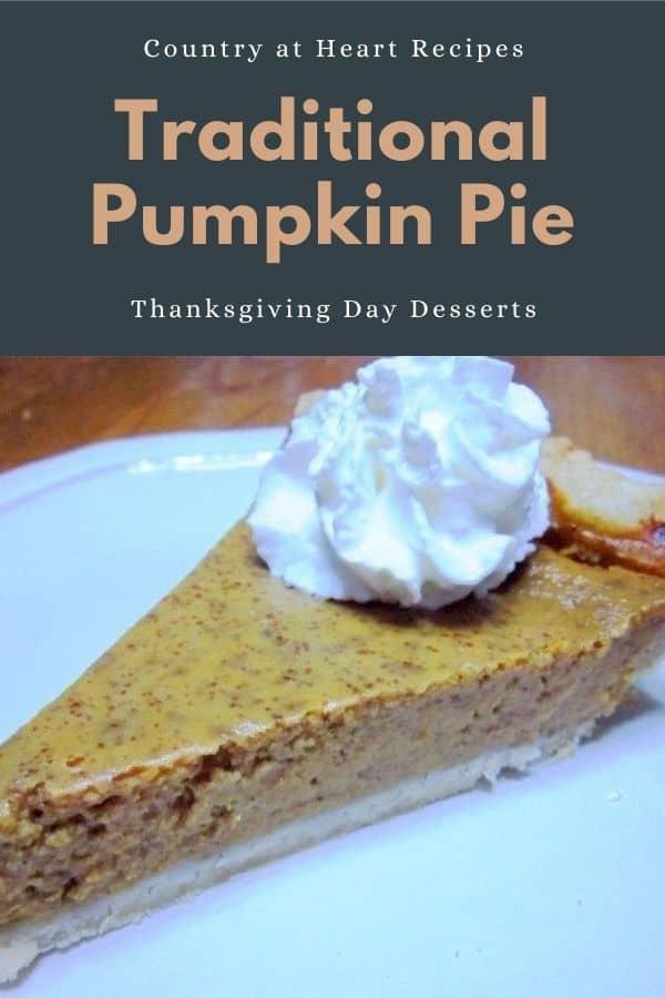 Pinterest Pin - Traditional Pumpkin Pie