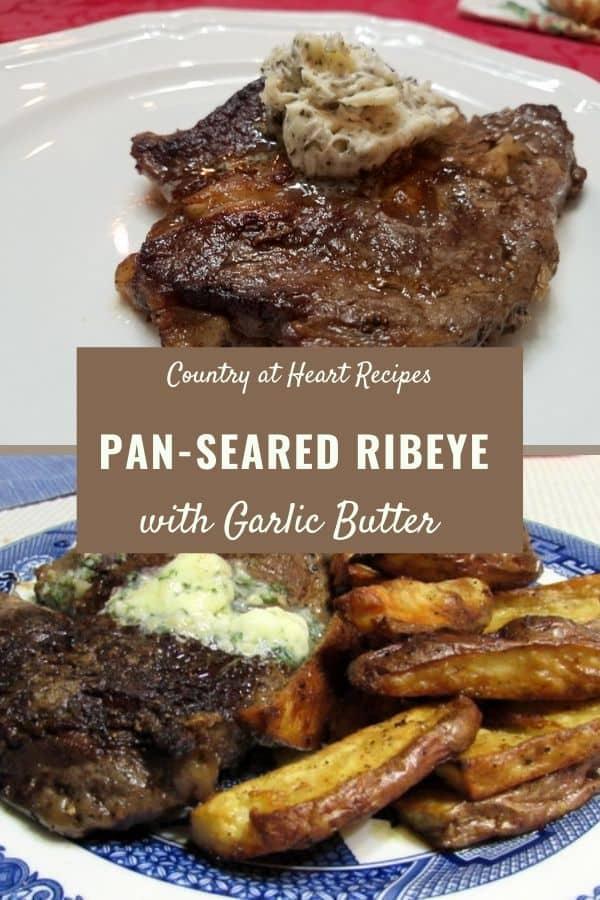 Pinterest Post - Pan-Seared Ribeye with Garlic Butter