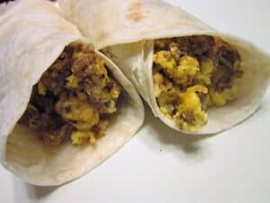 Serving Breakfast Burritos