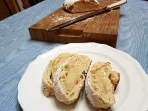 Serving German Stollen with Marzipan