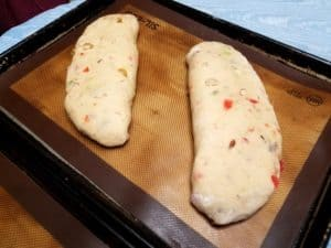 Getting ready to bake the German Stollen loaves