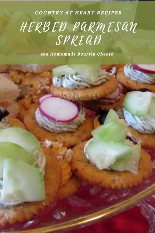 Pinterest Pin - Herbed Parmesan Spread aka Boursin Cheese