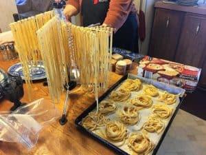 Drying the homemade pasta