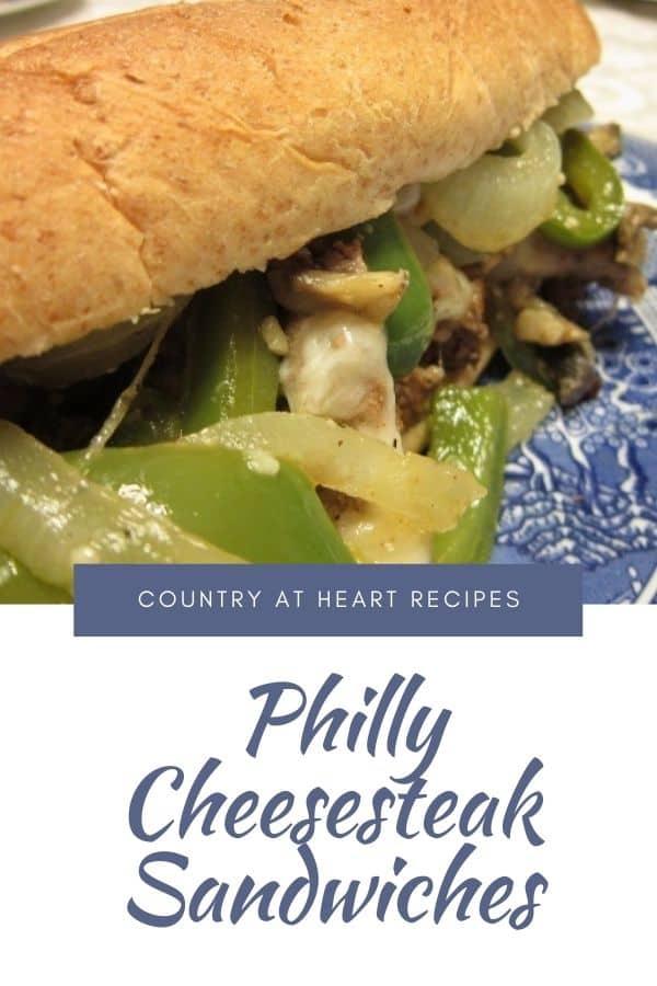 Pinterest Pin - Philly Cheesesteak Sandwiches