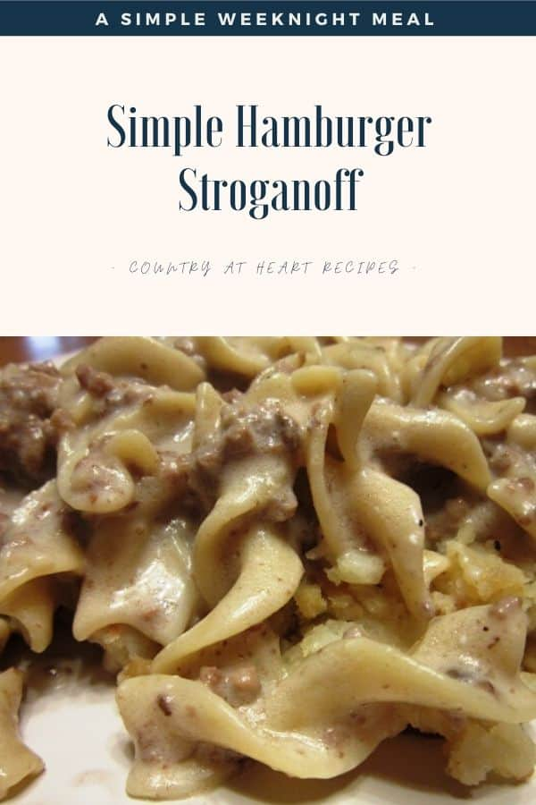 Pinterest Pin - Simple Hamburger Stroganoff