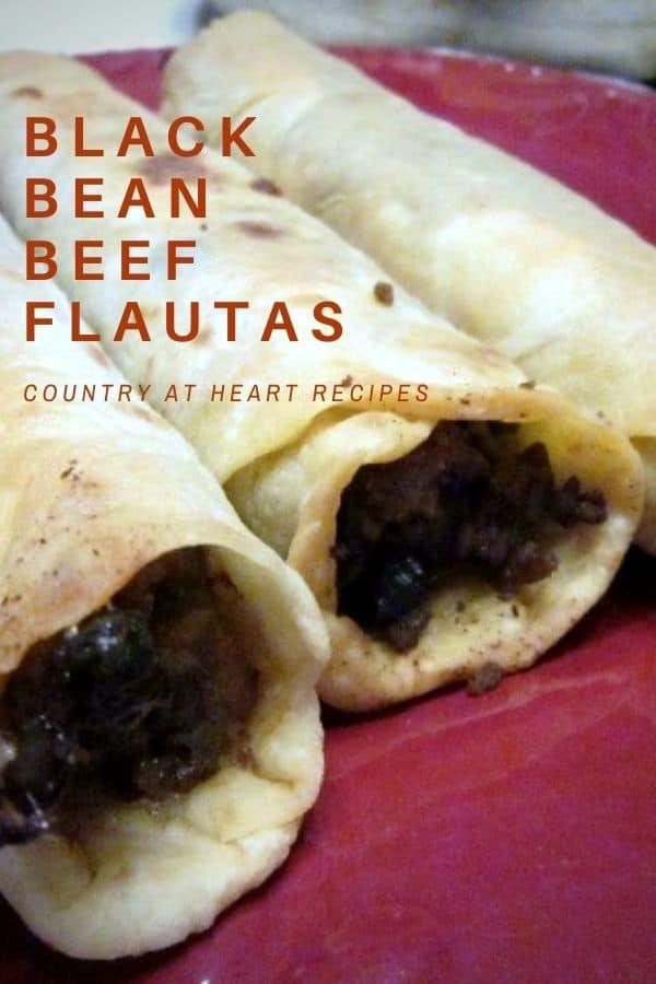 Pinterest Pin - Black Bean Beef Flautas