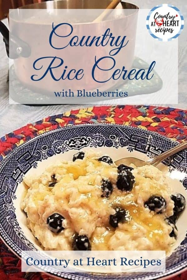 Pinterest Pin - Country Rice Cereal with Blueberries