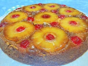 Serving Pineapple Upside Down Cake on Platter