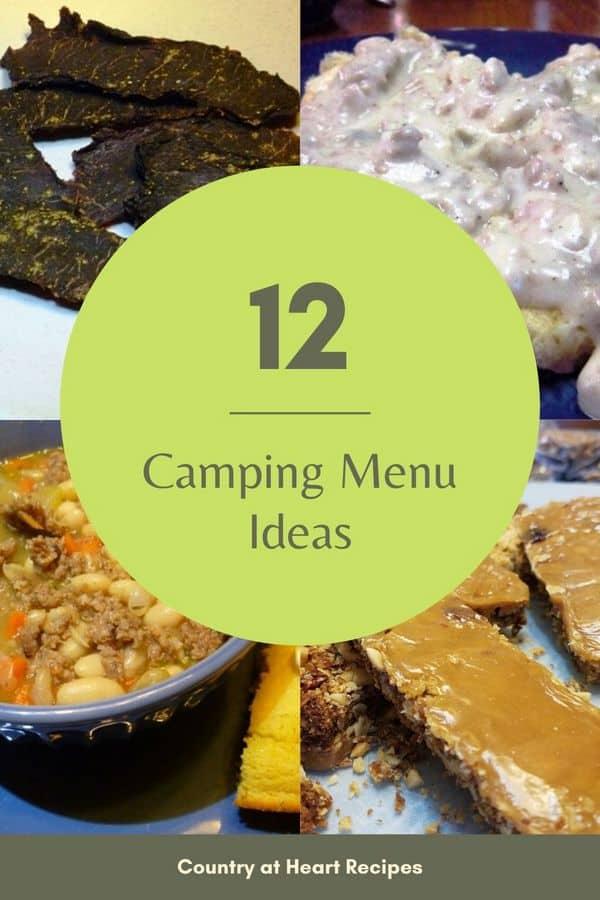 Pinterest pin Camping Menu Ideas