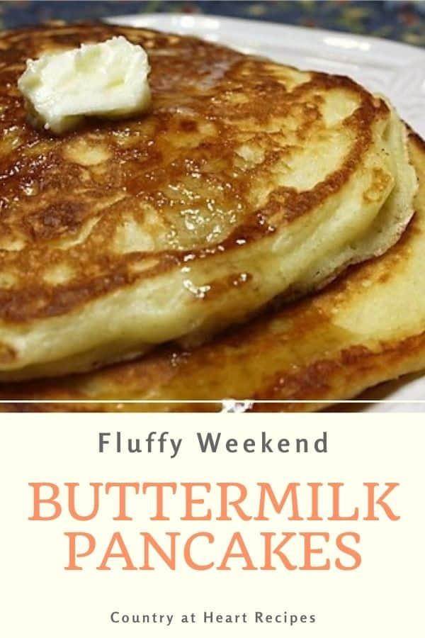 Pinterest Pin - Fluffy Weekend Buttermilk Pancakes
