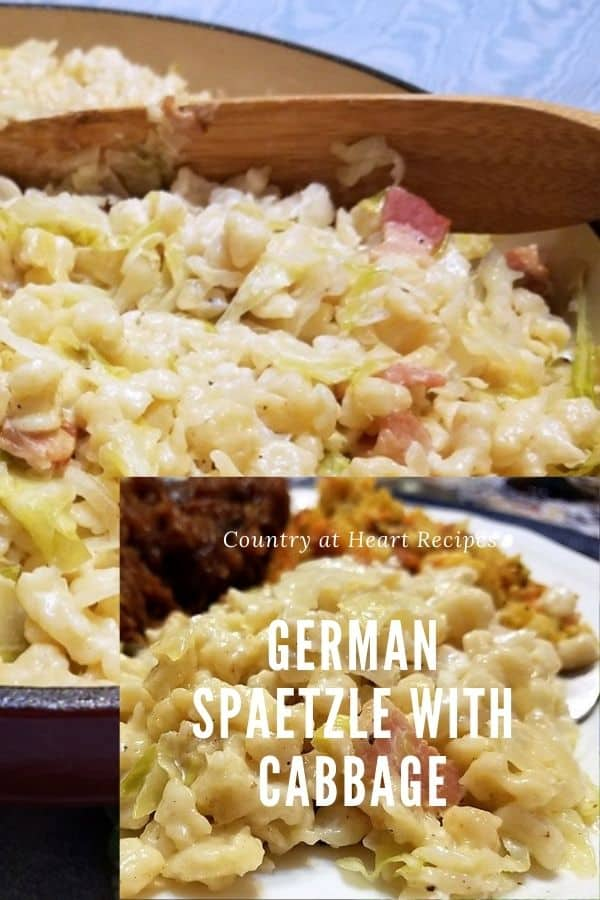 Pinterest Pin - German Spaetzle with Cabbage