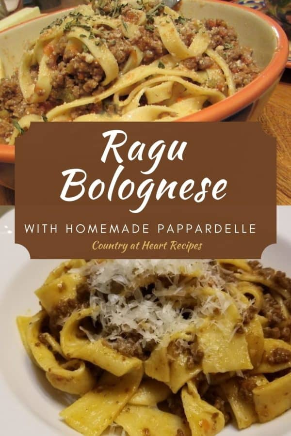 Pinterest pin - Ragu Bolognese with Homemade Pappardelle