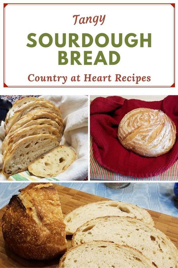 pinterest pin tangy sourdough bread