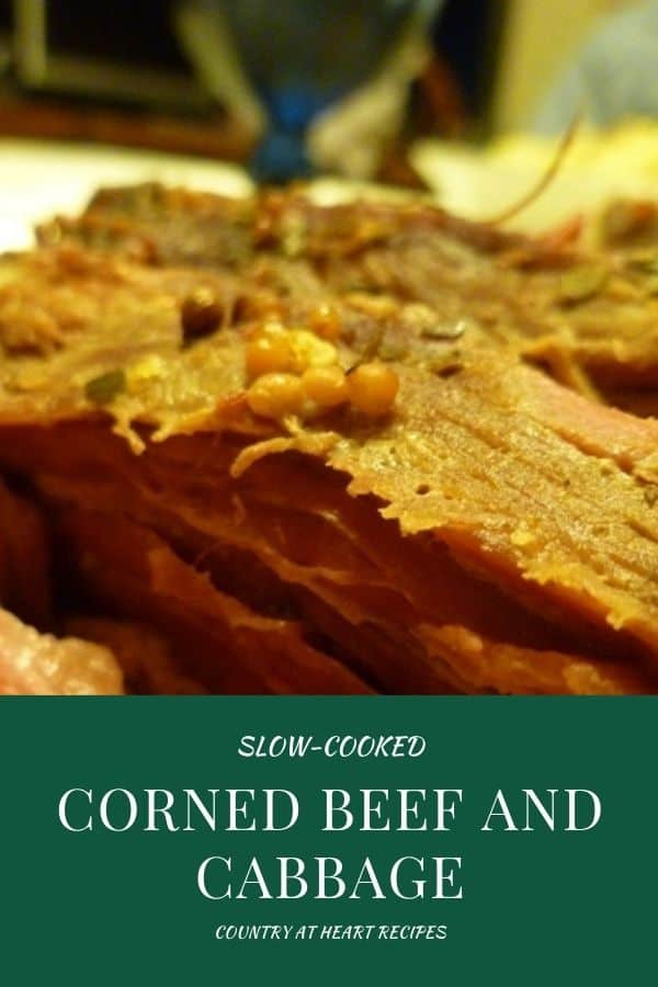 Pinterest Pin - Slow-Cooked Corned Beef and Cabbage