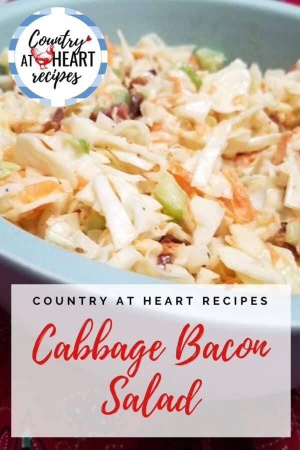 Pinterest Pin - Cabbage Bacon Salad