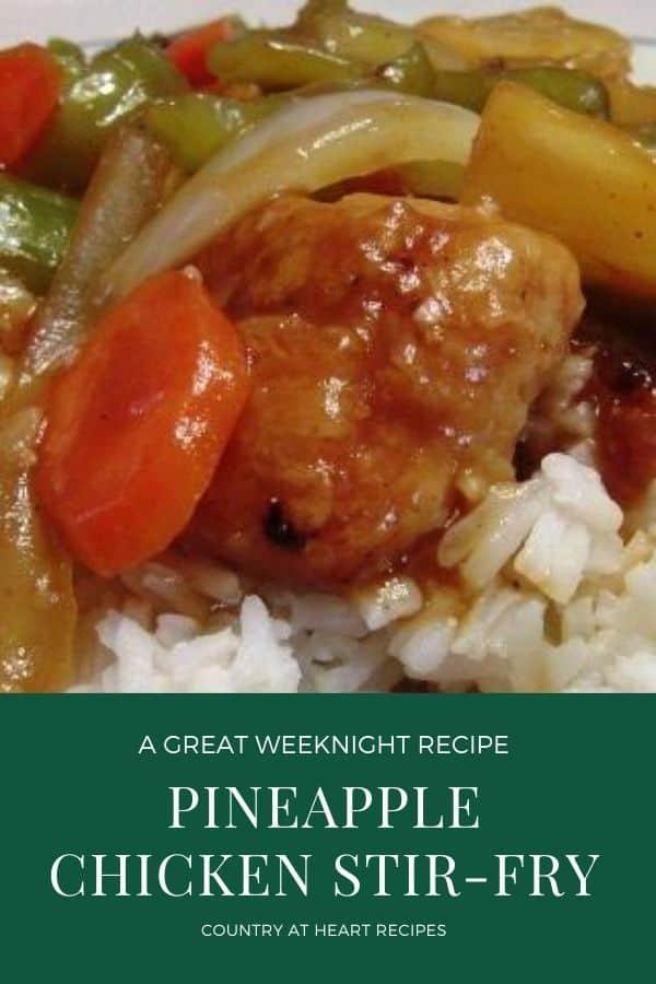 Pinterest Pin - Pineapple Chicken Stir-Fry