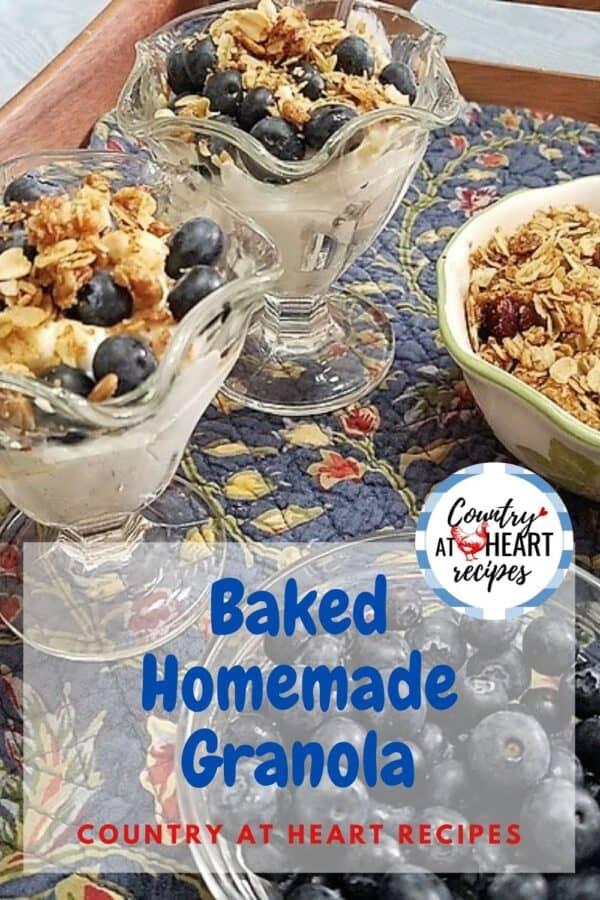 Pinterest Pin - Baked Homemade Granola