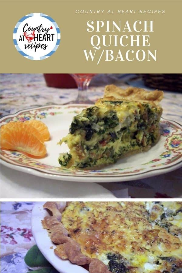 Pinterest Pin - Spinach Quiche with Bacon