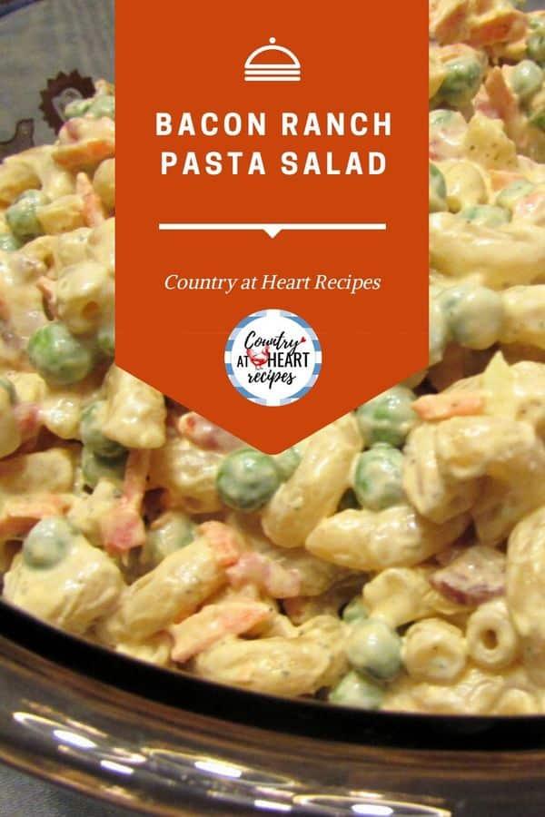 Pinterest Pin - Bacon Ranch Pasta Salad