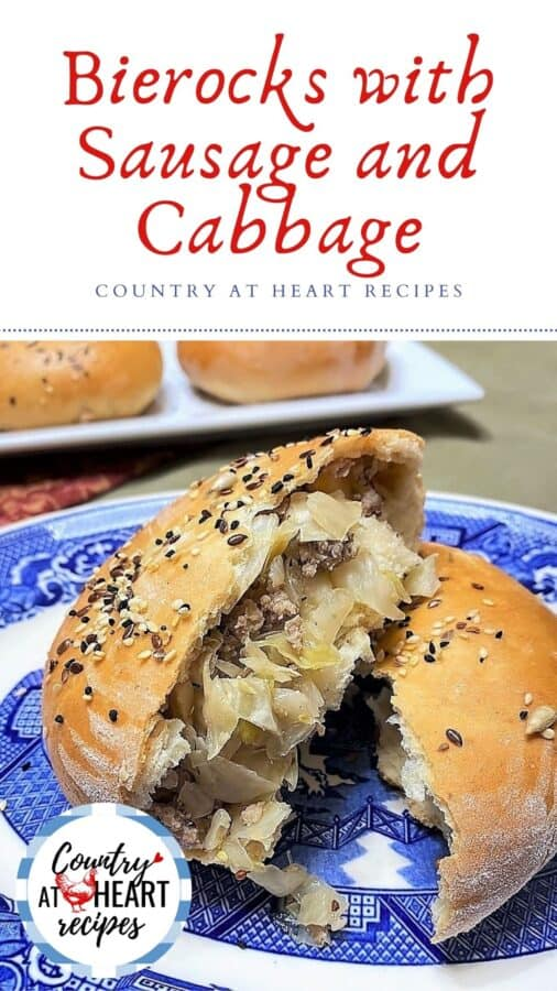 Pinterest Pin - Bierocks with Sausage and Cabbage