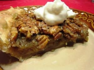 Recipe for Bourbon Pecan Pie with Whipped Cream