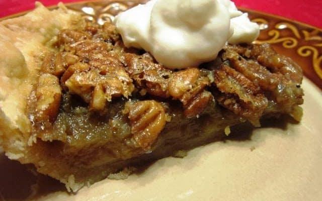 Bourbon Pecan Pie with Whipped Cream