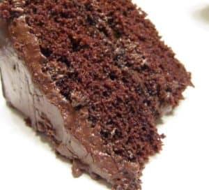 Serving Chocolate Cream Cake
