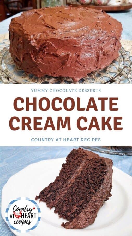 Pinterest Pin - Chocolate Cream Cake