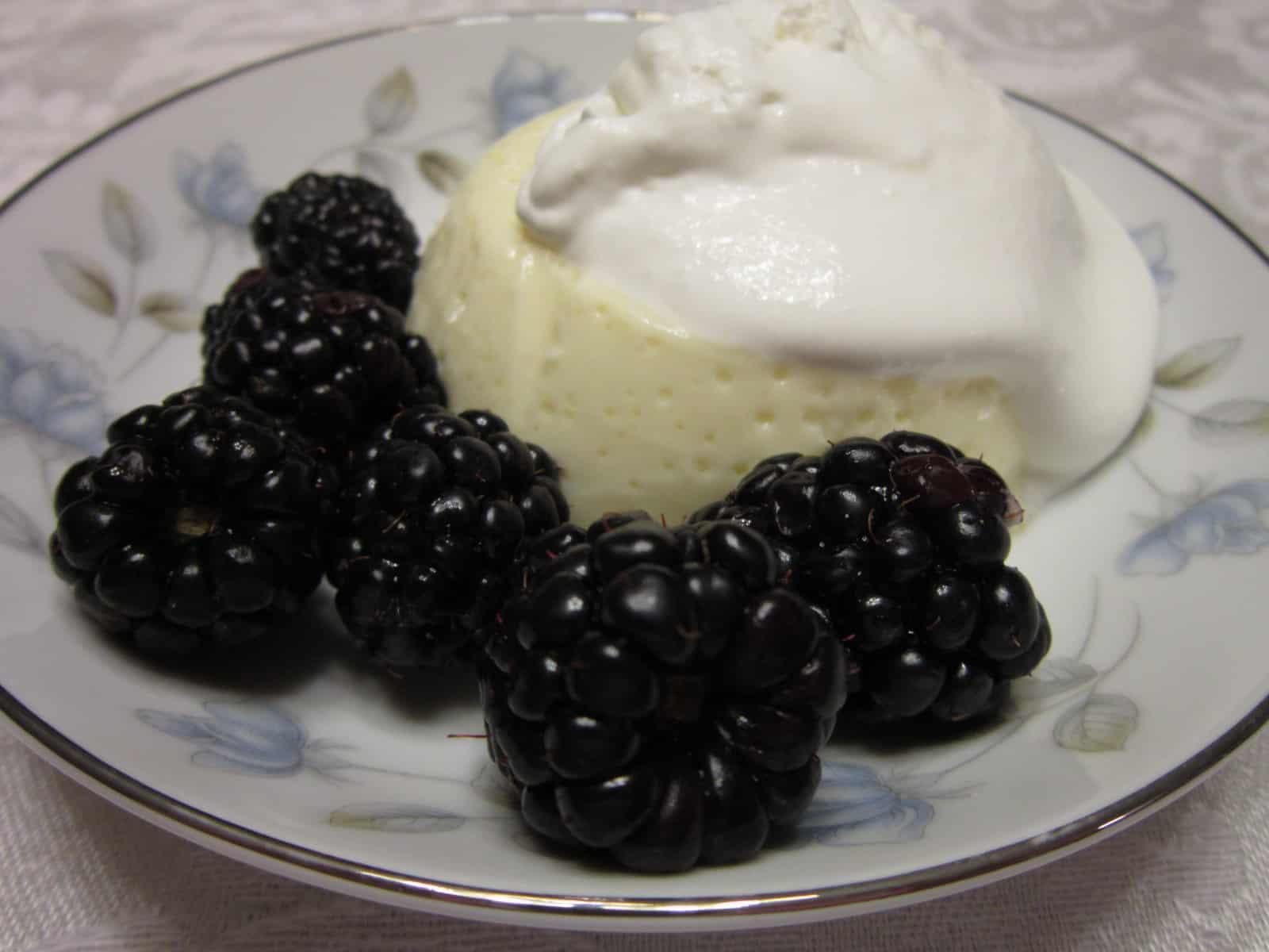 Baked Custard with Blackberries