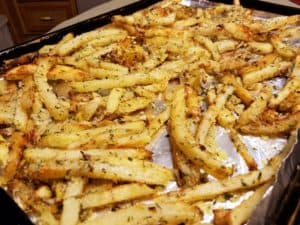 Baked Parmesan Fries on Baking Tray