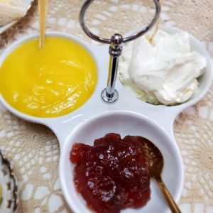 Lemon Curd with Faux Clotted Cream and Strawberry Jam