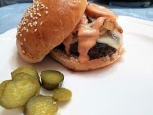 Sourdough Whole Wheat Hamburger Buns with Venison Burgers