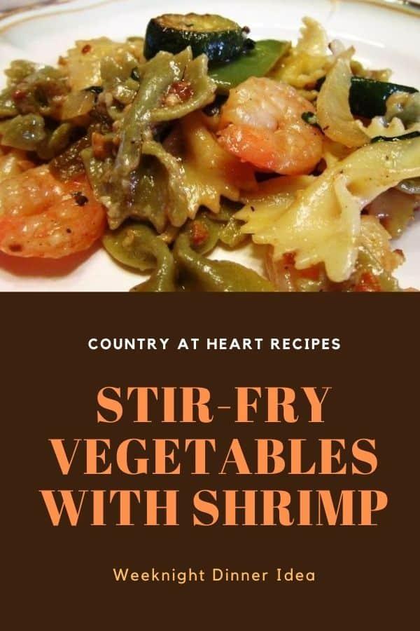 Pinterest Pin - Stir Fry Vegetables with Shrimp