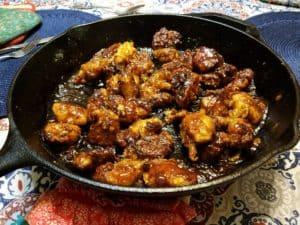 BBQ Chicken Bites in Skillet