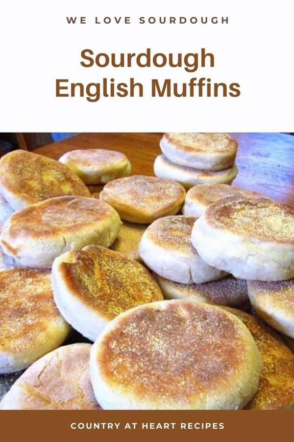 Pinterest Pin - Sourdough English Muffins