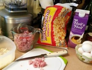 Ingredients for Ham and Hash Brown Egg Casserole