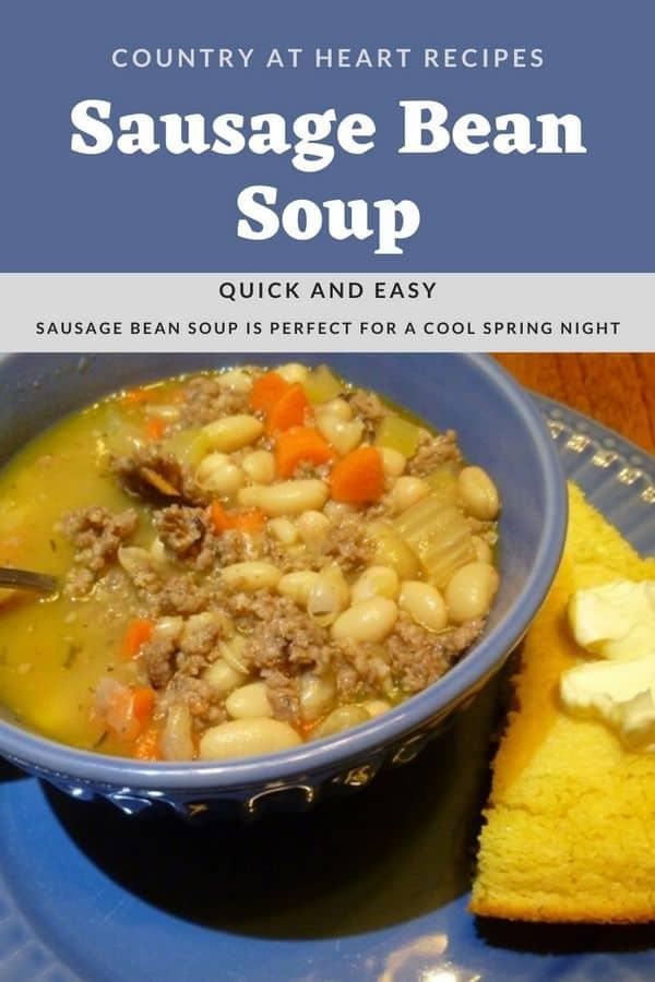 Pinterest Pin - Sausage Bean Soup Recipe