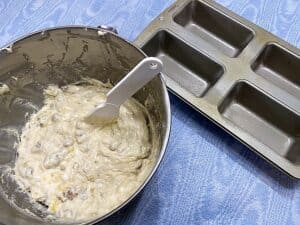 Spooning Quick Bread Batter into Small Loaf Pans